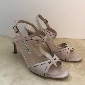 Manolo Blahnik tan blush suede heel sandal 36.5